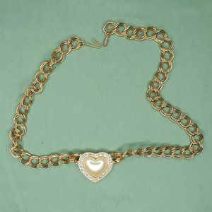 Gold Tone Faux Pearl Heart Rhinestone Necklace